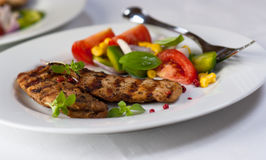 Grilled chicken fillet with vegetable salad Stock Image