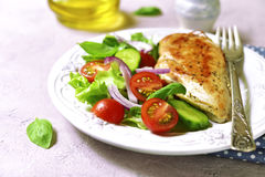 Grilled chicken fillet with vegetable salad. Stock Photography
