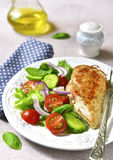 Grilled chicken fillet with vegetable salad. Royalty Free Stock Image