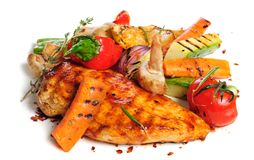 Grilled chicken fillet and vegetables Royalty Free Stock Image