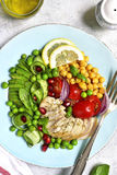 Grilled chicken fillet and vegetables - concept of healthy eating.Top view. royalty free stock photo
