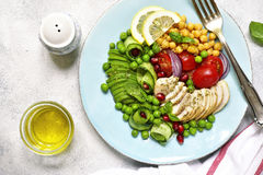 Grilled chicken fillet and vegetables - concept of healthy eating.Top view. royalty free stock photography