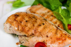Grilled chicken fillet with vegetables Royalty Free Stock Image