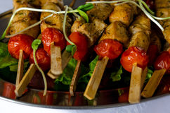 Grilled chicken fillet and vegetables. Grill or BBQ preparation with Meat skewers Royalty Free Stock Photography