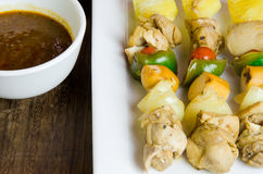 Grilled chicken fillet and vegetables whit barbecue sauce Royalty Free Stock Image