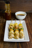 Grilled chicken fillet and vegetables whit barbecue sauce Stock Images