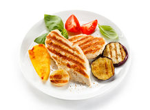 Grilled chicken fillets Stock Photo