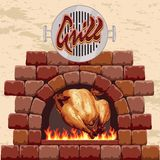Grilled chicken in the fireplace Royalty Free Stock Photos