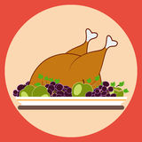 Grilled chicken flat vector illustration Royalty Free Stock Images