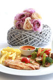 Grilled chicken, frenh fries and fried vegetables. And ketchup Royalty Free Stock Image