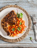Grilled chicken and fresh carrots chickpea salad Royalty Free Stock Photos