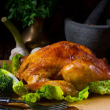 Grilled chicken. A fresh and tasty grilled chicken stock photography