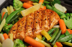 Grilled chicken with fresh vegetables Stock Photo