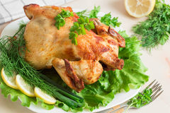 Grilled chicken with fresh vegetables and herbs served on a whit. Grilled chicken on a white plate with fresh herbs and lemon Royalty Free Stock Images