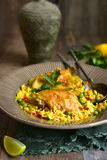 Grilled chicken with fried rice and vegetables. Stock Image