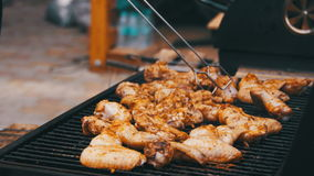 Grilled chicken on the grill stock video footage