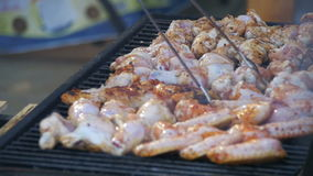 Grilled chicken on the grill. Slow motion stock footage