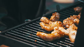 Grilled chicken on the grill. Slow Motion stock video
