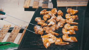 Grilled Chicken on the Grill in Slow Motion stock footage