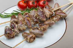 Grilled chicken hearts barbecue Stock Photo