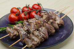 Grilled chicken hearts barbecue Royalty Free Stock Images