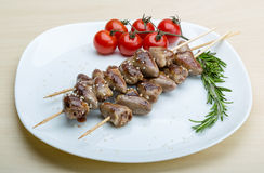 Grilled chicken hearts barbecue Royalty Free Stock Photo