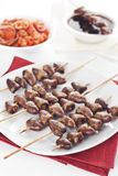 Grilled chicken hearts Royalty Free Stock Images