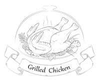 Grilled chicken. Hot chicken. On a platter with herbs and spices. Restaurant, cafe. Isolated vector illustration royalty free illustration