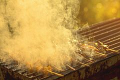 Grilled chicken on hot stove stock photos