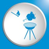 Grilled chicken icon. Barbecue grill with chicken icon. Vector illustration Stock Photo