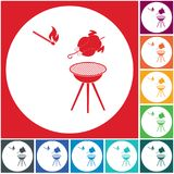 Grilled chicken icon. Barbecue grill with chicken icon. Vector illustration Stock Image