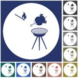Grilled chicken icon. Barbecue grill with chicken icon. Vector illustration Royalty Free Stock Image