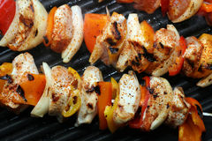 Grilled Chicken Kabobs Royalty Free Stock Images
