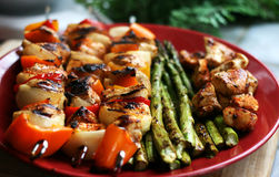 Grilled Chicken Kabobs Royalty Free Stock Photography