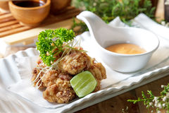 Grilled chicken karage served with mayo sauce. Portrait of japanese food grilled chicken karage served with mayo sauce Stock Photography