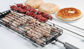 Grilled chicken and kebab with bread Royalty Free Stock Photo