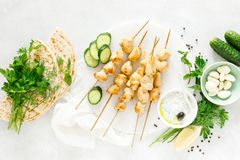 Grilled chicken kebab on skewers and traditional Greek tzatziki yogurt sauce royalty free stock photography