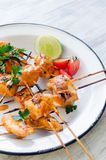 Grilled chicken kebabs with tikka masala sauce Royalty Free Stock Image