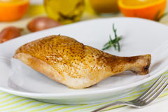 Grilled chicken leg - drumstick ,close up shot Royalty Free Stock Photos