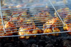 Grilled chicken Leg on the grill Royalty Free Stock Photo