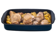 Grilled chicken leg and potatoes Stock Images