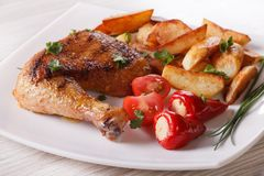 Grilled chicken leg, roasted potatoes and vegetables, horizontal Royalty Free Stock Photo