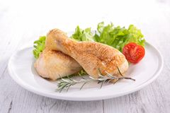 Grilled chicken leg and salad Stock Image