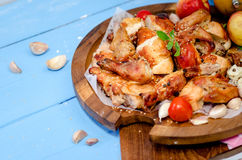 Grilled chicken leg with vegetables Stock Photo