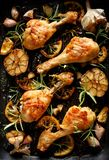 Grilled chicken. Grilled chicken legs, drumsticks with addition, garlic, lemon and rosemary on grill plate, top view. royalty free stock image