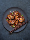 Grilled chicken legs with rice Stock Images