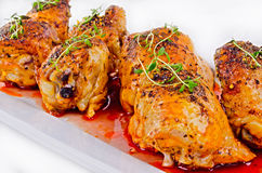 Grilled chicken legs with thyme Stock Photos