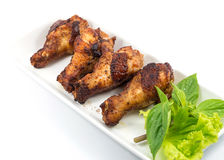 Grilled chicken legs with vegetables Royalty Free Stock Photos