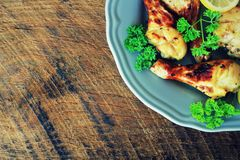 Grilled Chicken Legs With Mustard On Plate. Rustic Dinner Background . Top View Royalty Free Stock Photography
