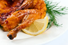 Grilled  chicken with lemon and dill Stock Photo